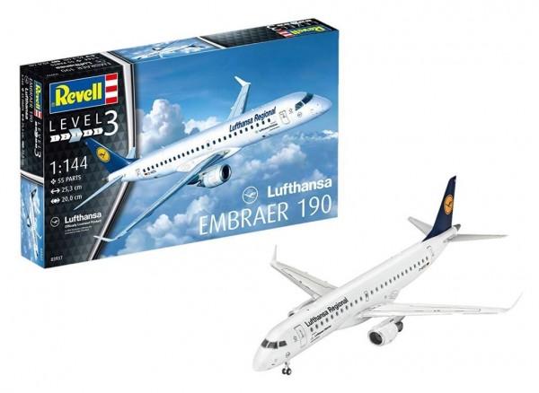 Revell Modellbausatz Flugzeug 1:144 - Embraer 190 Lufthansa Regional