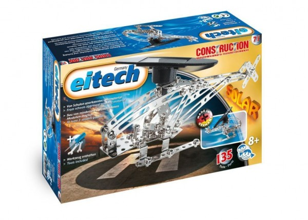 Eitech 00071-Metallbaukasten Helikopter Set mit solarbetriebenem Motor, 135-teilig