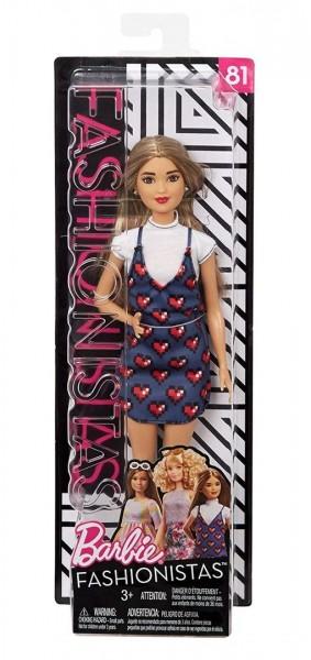 Barbie FJF46 - Fashionistas Puppe, im Denim-Kleid mit Herz-Print